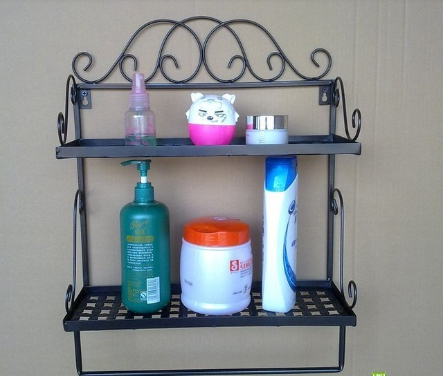 Free Shipping 2 Tier Iron Craft Wall Rack Vintage Shelf Bathroom Rack Towel  Bar Iron Decoration