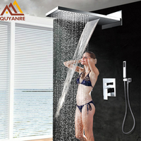 Wall Mount 3 Function Chrome Bath Shower Faucet Set Waterfall Rainfall Shower Head Handshower Mixer Tap