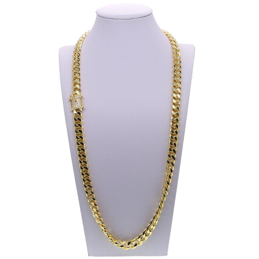 Glacé or rempli de haute qualité cz fermoir Miami cubain lien chaîne bracelet collier ensemble bijoux hip hop - 6