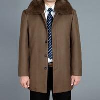 2019 New Men Woolen Coat Autumn Wool Blend Jacket Winter Thick Warm Male Pea Coat Real Rabbit Fur Mens Coats Fashion Black M 4XL