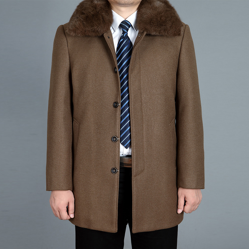 2020 New Men Woolen Coat Autumn Wool Blend Jacket Winter Thick Warm Male Pea Coat Real Rabbit Fur Mens Coats Fashion Black M-4XL