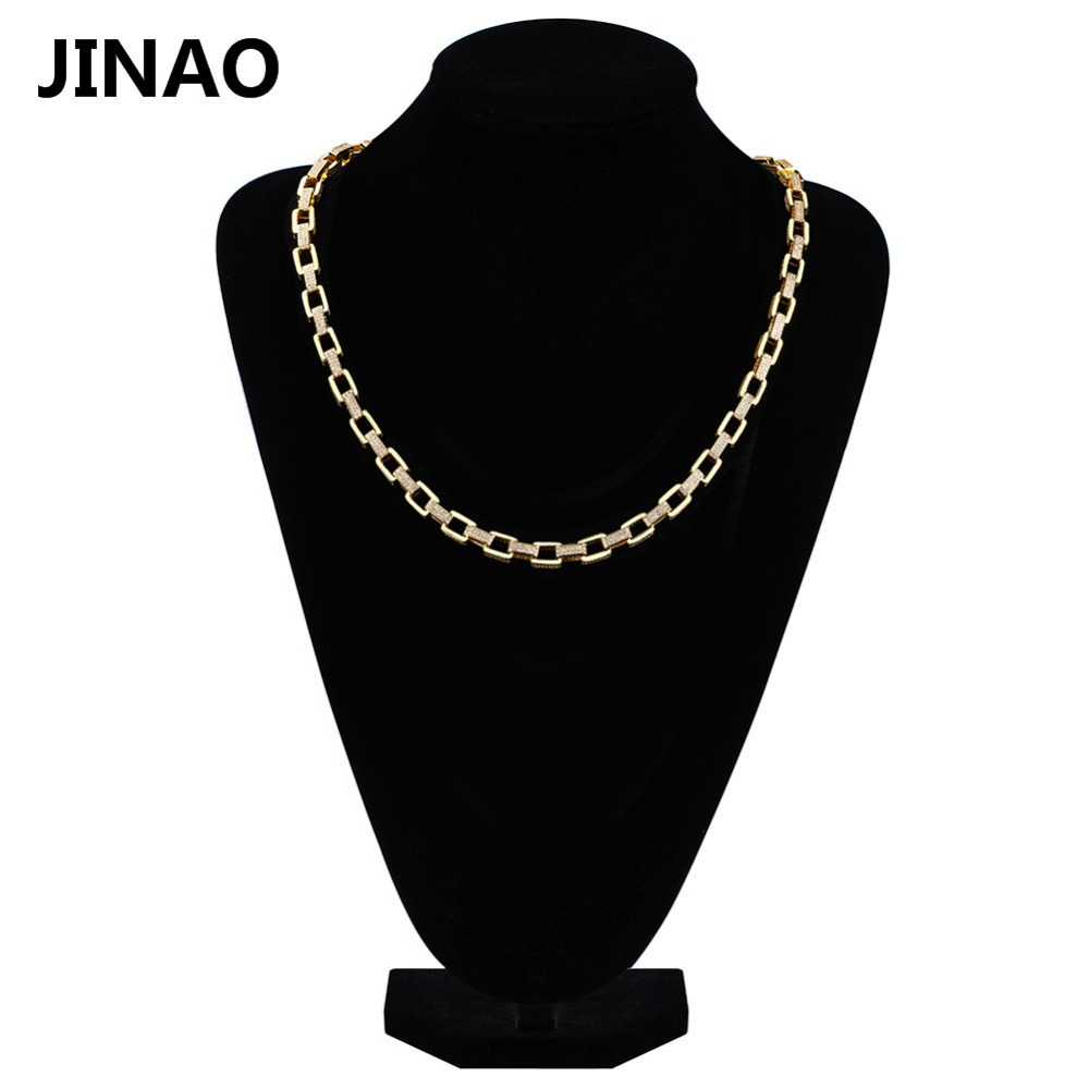 JINAO New Custom Gold Color Link Chains Necklace Iced Out Bling Cubic Zircon Rapper Necklace Hip Hop Jewelry 18inch 22inch jinao hip hop fashion 69 saw necklace cubic zircon gold silver saw horror movie theme digit number pendant necklace iced out