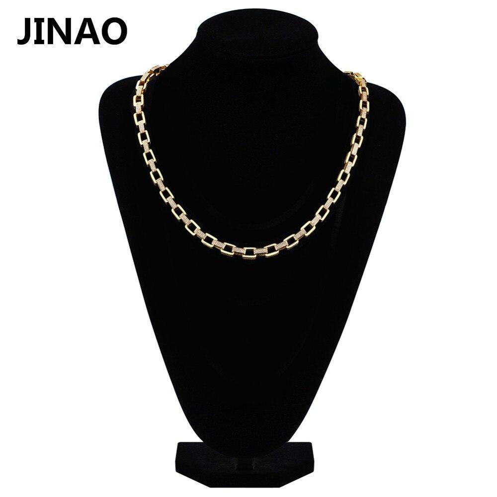 JINAO nouveau personnalisé or couleur lien chaînes collier glacé Bling cubique Zircon rappeur collier Hip Hop bijoux 18 pouces 22 pouces