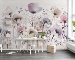 Эстетическая индивидуальность обои Акварель Ручная роспись стиль сиреневый цветочный ТВ фон papel де parede настенная бумага