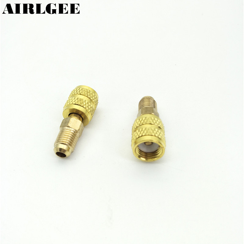 <font><b>R22</b></font> to R410A Male/Female Brass <font><b>Air</b></font> <font><b>Conditioner</b></font> Adapter Coupler Fitting 2 Pcs image