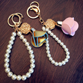Monchichi Pearl and rose accesories keychain crystal  Key Chain Real  Women Handbag car charm Pendant new
