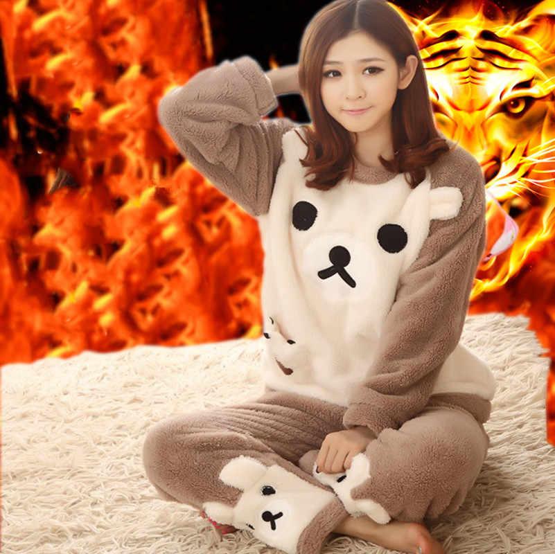 f821e26f81 ... Women pajamas set Women Pyjamas Thick Flannel Cute Sheep Female Warm  Winter Pajama Set Long Sleeve ...