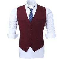 Dress Vests For Men Slim Fit Deep Red Herringbone Male Waistcoat Gilet Casual Sleeveless Formal Business Jacket Custom Made
