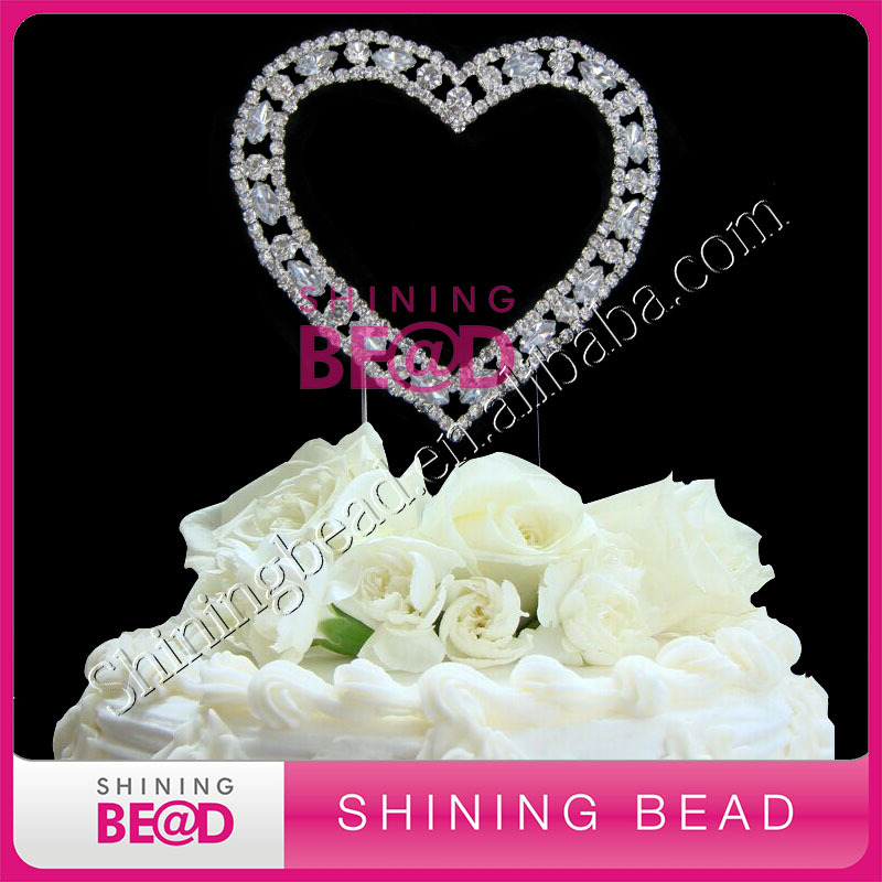 love heart wedding cake toppers shape wedding sliver rhinestone cake topper 16953