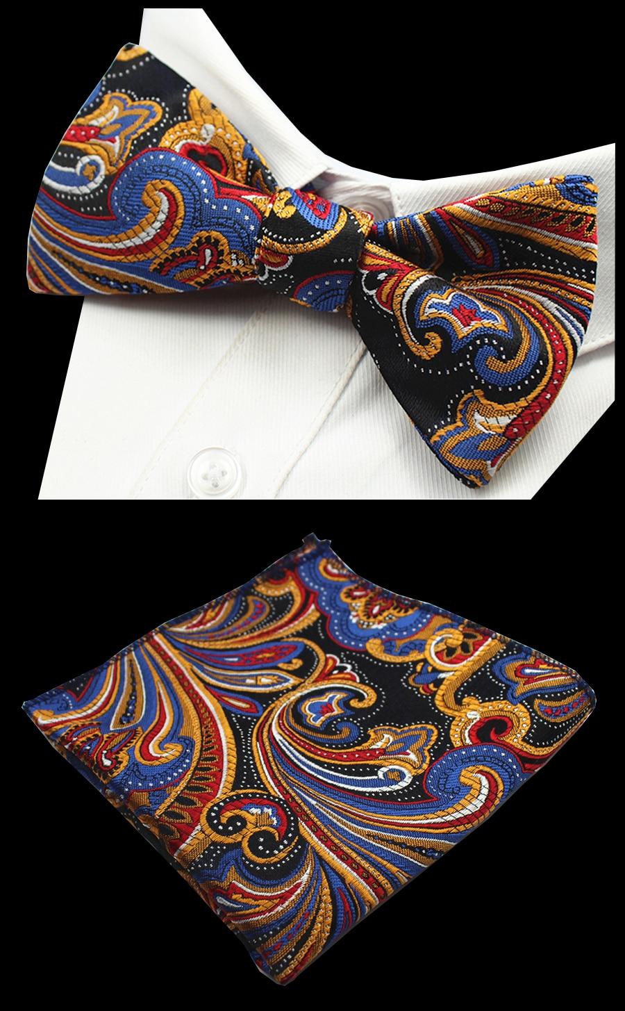 Ricnais New Quality Self Tie Bow Tie And Hanky Set Silk Jacquard Woven Men BowTie Pocket Square Handkerchief Suit Wedding