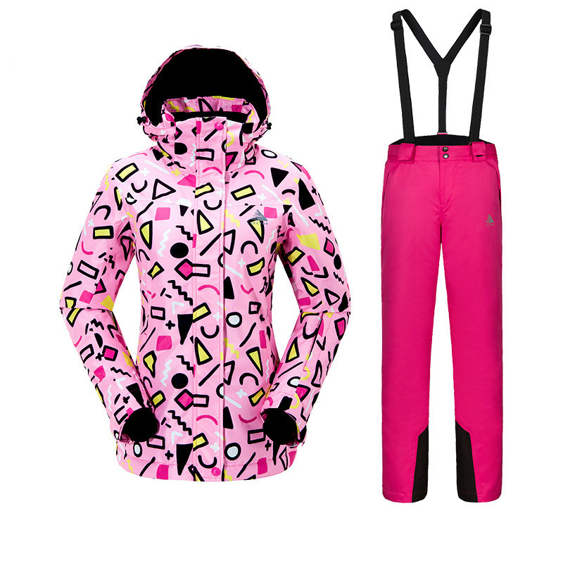 Combinaison de Ski pour femmes Sports de plein air chaud coupe-vent imperméable résistant à l'usure veste de neige + bretelles de ski pour femme taille S-XXL