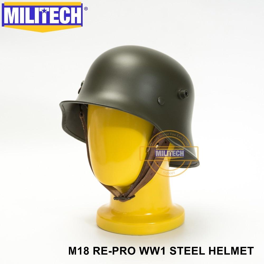 MILITECH World War One Oliver Drab Green OD German M18 Helmet WW1 German Helmet WWi German Repro Motor Cycle Helmet