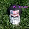girls  brim full with bling bling Rhinestone jeans cotton   Diamond US star strips  flag denim  black  baseball caps