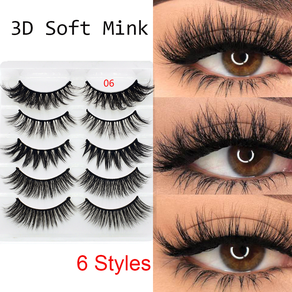 1bcfe29fe4c 5 Pairs 3D Faux Mink Hair False Eyelashes Wispies Long Cross Lashes  Handmade Eye Makeup Tools ~ Best Seller July 2019