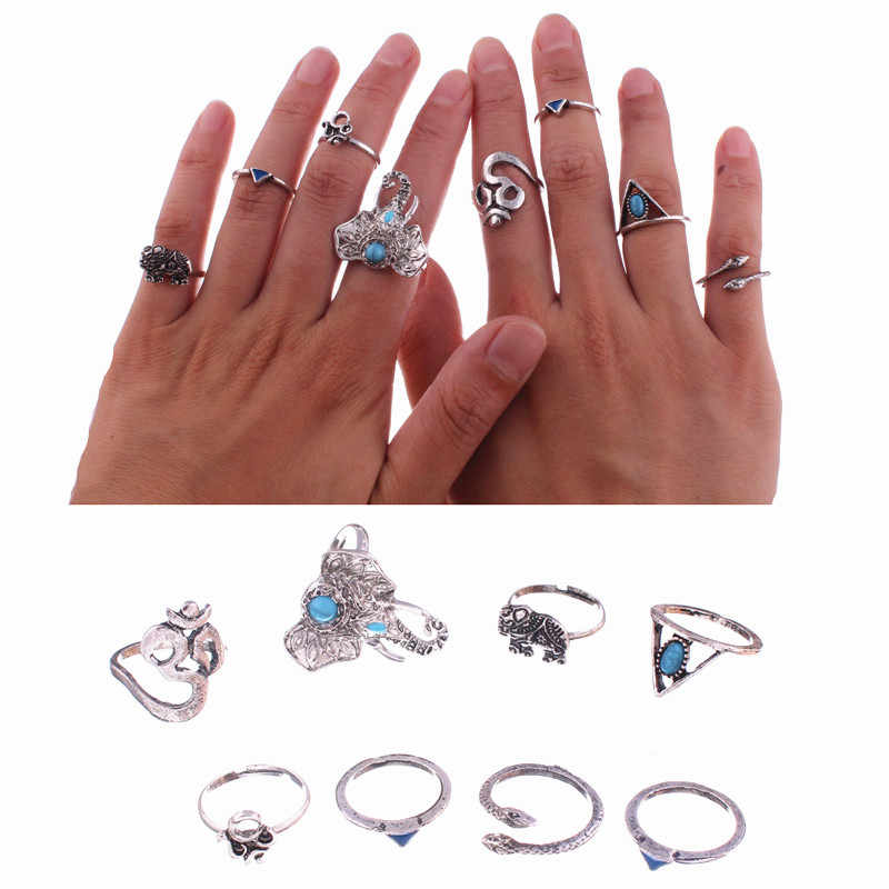 8 Pcs/Set New Bohemian Elephants Ring Set Small Triangle Snake Finger Rings Boho Ring Set For Women Stone Knuckle Midi Rings