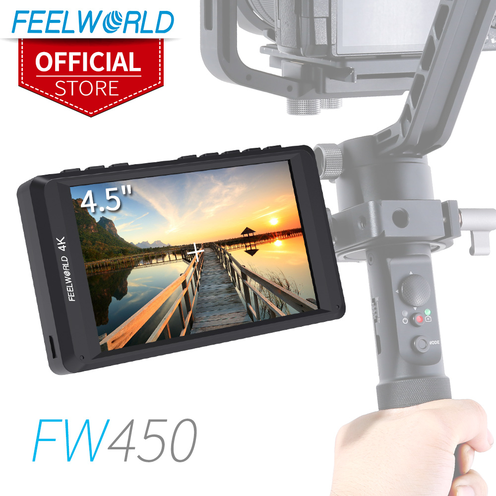 """Feelworld FW450 4.5"""" IPS 4K HDMI Camera Field Monitor 1280x800 HD Portable LCD Monitor for DSLR with Peaking Focus Check Field"""