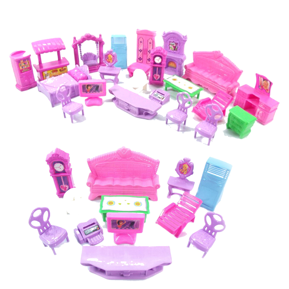Hot Sale Pretend Play Toys Christmas Gift Plastic Furniture Miniature Rooms For Doll 22PCS/set 3D Dolls House Set Baby Kids-0