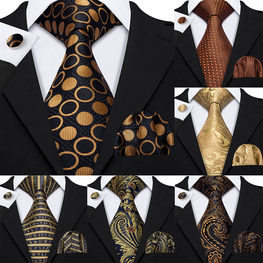 Gold Mens Ties 100% Silk Jacquard Woven 7 Colors Solid Ties For Men Wedding Business Party Barry.Wang 8.5cm Neck Tie Set GS-07