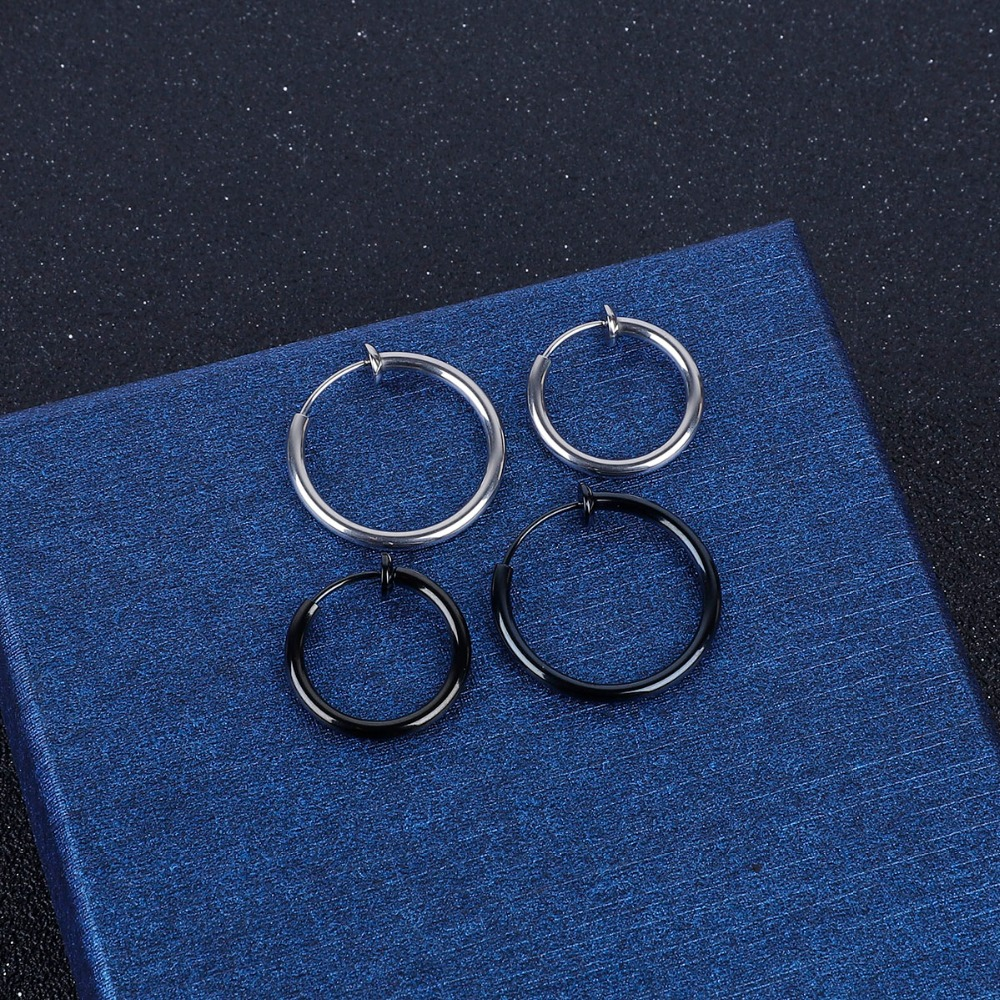 NO Hole Clip Earrings Silver Gold Stainless Steel Round Earring for Women Men Ear Rings Clip Colored Creoles Circle Earrings
