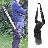 Black Leather Waist Hip Belt Side Archery Quiver Arrow Bag with Zipper Pocket