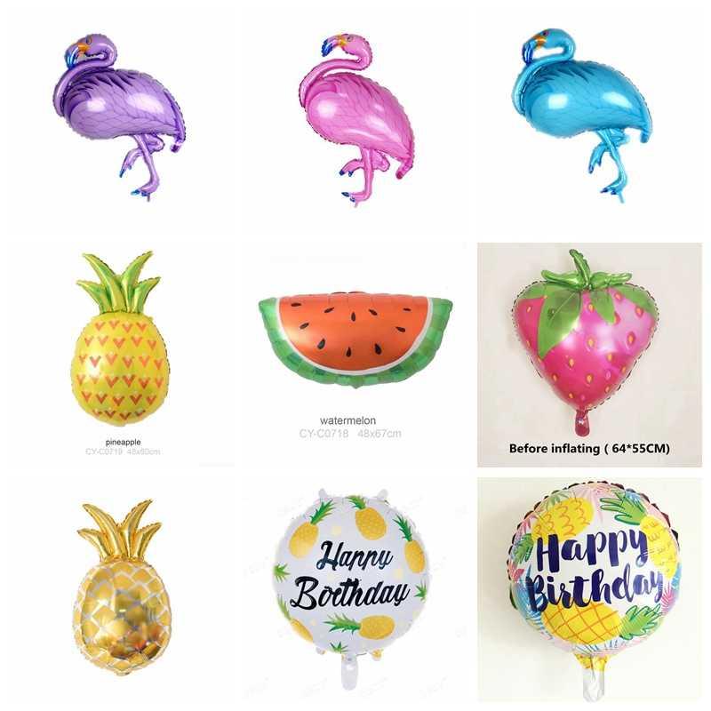 1 piezas Flamingo/piña frutas de aluminio globo de Día de los niños decoración de la ducha de bebé de verano tema decoración fiesta de cumpleaños suministros