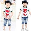Шикарный малыш малыш топы уютная футболка по уходу за детьми мальчики ткань шеи экипажа арбуз футболку