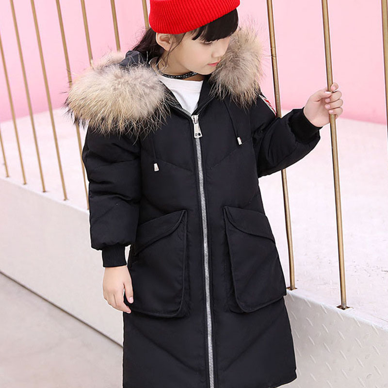 children girl duck down coat clothing 2017 x-long fur hooded thick warm winter down jacket for girl 6 7 8 9 10 11 12 13 14 years топор туристический duck commander® quax 9 9 см