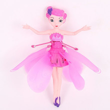 Flying Fairy Toy Infrared Hand Induction Control Flying Dolls For Girls Remote Control Flying Toys For Children(China)