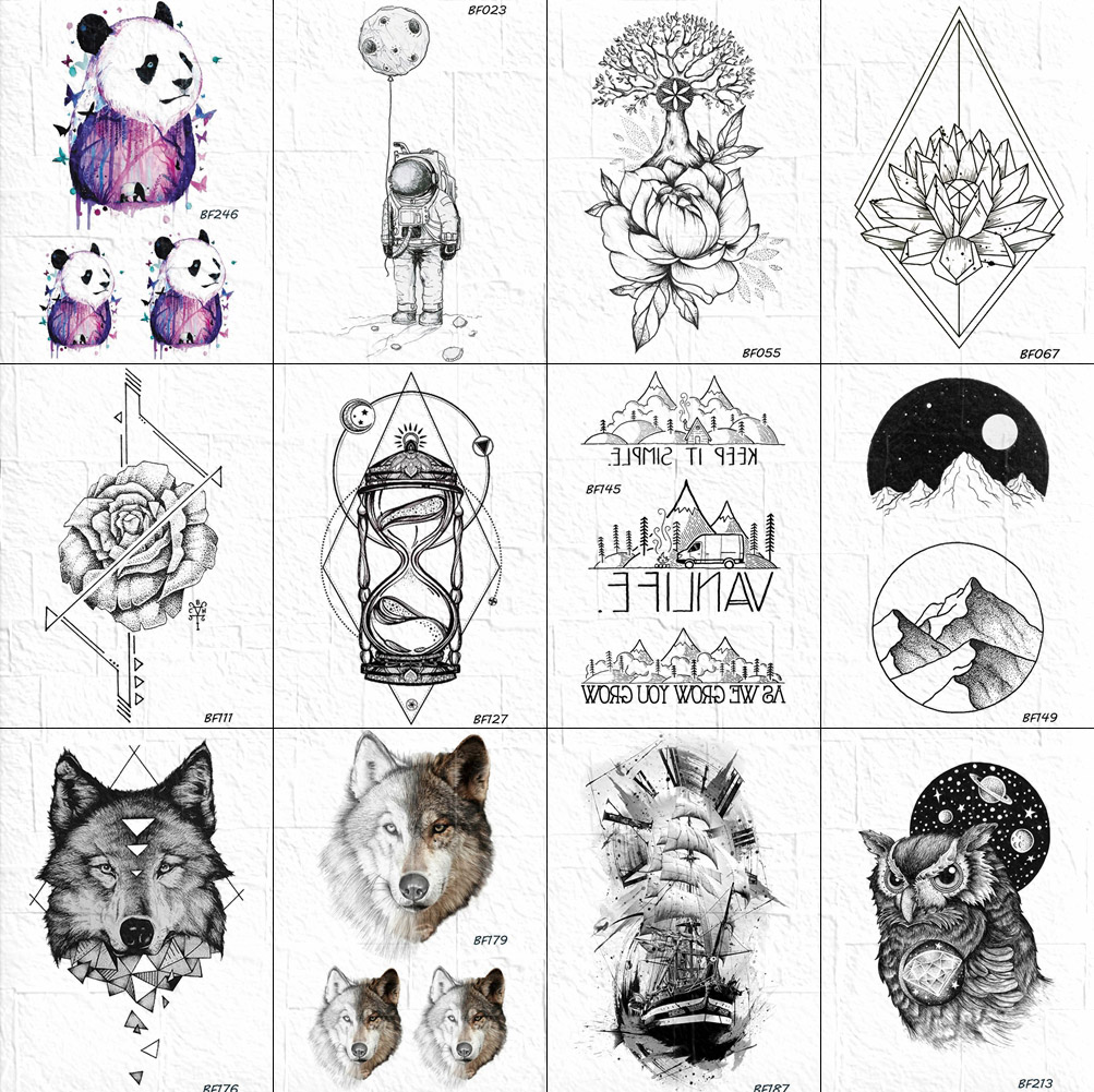 Fake Tattoos Women Little Arm Triangle Moon Men Tattoos Temporary Planet Stickers Summer Style DIY Tatoo Bracelet Rose Body Art