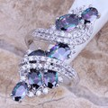 Shiny Rainbow Mystic White CZ 925 Sterling Silver  Ring For Women Size 5 / 6 / 7 / 8 / 9 / 10 / 11 / 12 S0218