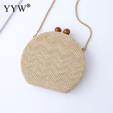 40928f3d34 Women Handmade Bamboo Bag Round Ranttan Straw Bag 2019 Apricot Clutch Bag  With Gold Chain Ladies