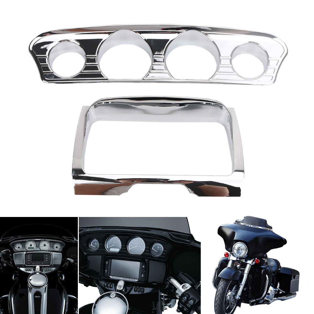 1Set Chrome Tri Line Stereo Trim Cover Kit for Harley Touring Electra Street Tri Glide Ultra FLHT FLHX 2014-2017 #MBT008
