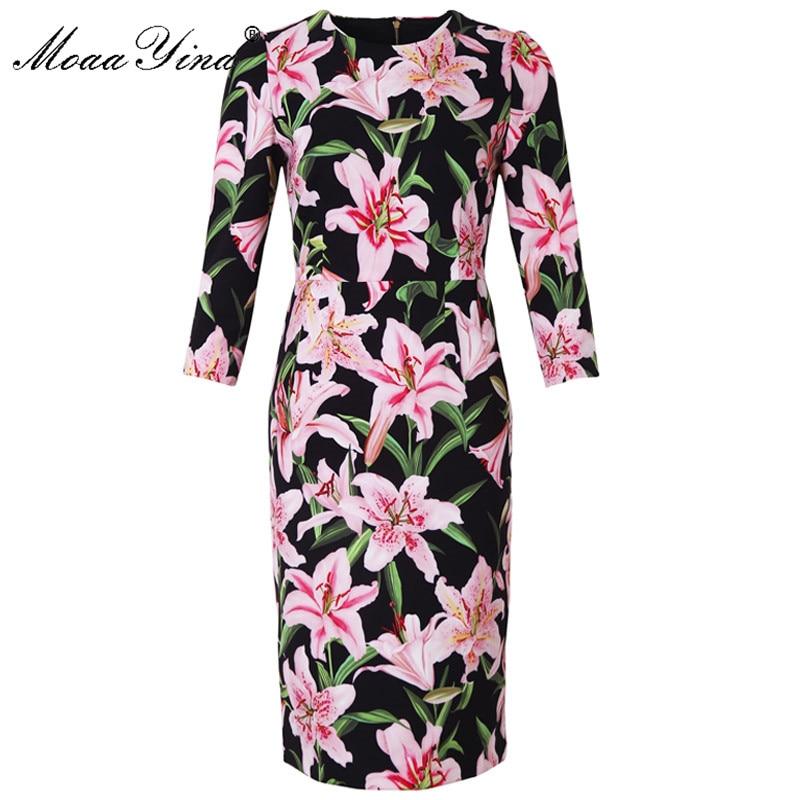 Moaa yina 패션 디자이너 런웨이 드레스 봄 여름 여성 드레스 긴 소매 백합 꽃 프린트 우아한 드레스-에서드레스부터 여성 의류 의  그룹 1