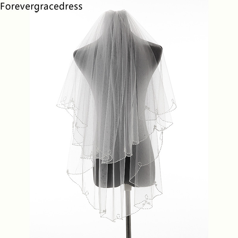 Forevergracedress New Design Ivory White Beaded Edge Multi Layers Wedding Accessories Tulle Bridal Veil With Comb