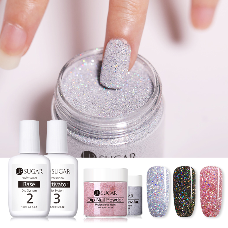 UR SUGAR 7pcs/set Dipping System Nail Kit Art Powder With Base Activator Liquid Gel Natural Dry Without Lamp
