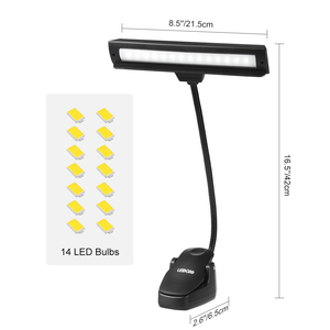 3W Music Stand Light 14LEDs Bulbs Table Lamp USB led Piano Read Lamp with Clip-on 3 Brightness Modes Bright Clamp LED Desk Lamp