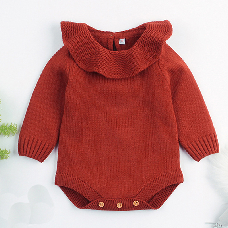 Baby Boy Girl Autumn Winter Clothes Long Sleeve Solid Color Knitted Warm Romper Jumpsuit Playsuit Newborn