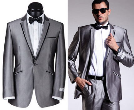 Free ship 100%real spring season mens silver grey 80%wool 20%polyester tuxedo jacket suit /event/stage performance - 1