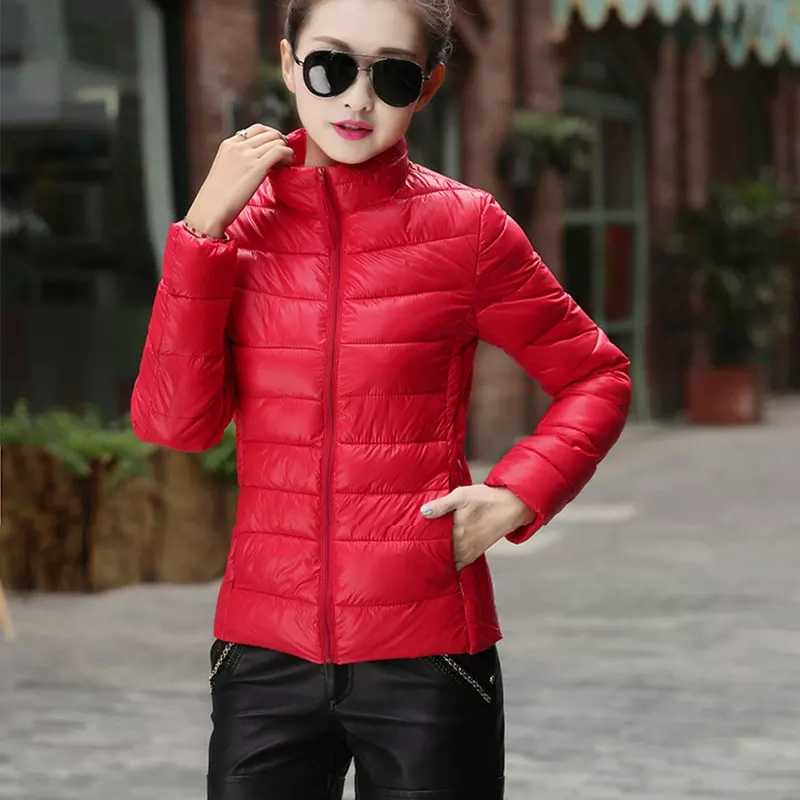 e507f585a8a70 ... Yaxez 2018 Winter Women s Jacket Stand Collar Solid Color Light Thin Warm  Zipper Puffer Coat S ...