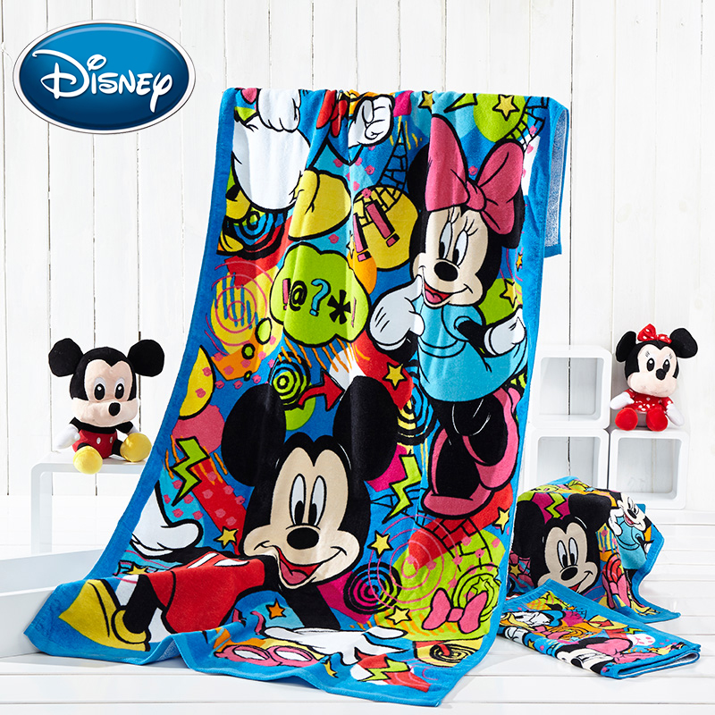 Disney 35*70cm Cute Mickey Cotton Towel Wash Home Cartoon Minnie Bath Men And Women Towel Children Rectangular Towel