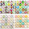 Hot Sale 50pcs 12mm New Fashion Mixed Flower Word Map Handmade Photo Glass Cabochons Pattern Domed Jewelry Accessories Supplie