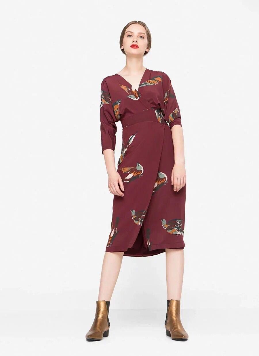 2019 새로운 여성 버드 인쇄 절반 슬리브 분할 드레스 v 목 슬림 미디 드레스 100% 실크-에서드레스부터 여성 의류 의  그룹 1