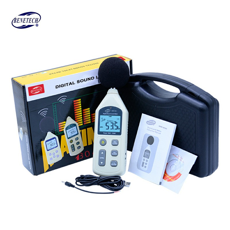 BENETECH GM1356 Digital Sound Level Meter 30-130dB LCD A/C FAST/SLOW dB screen USB + Software with Carry Box 2pcs lot gm1357 digital sound level meter noise tester 30 130 db lcd a c fast slow db screen