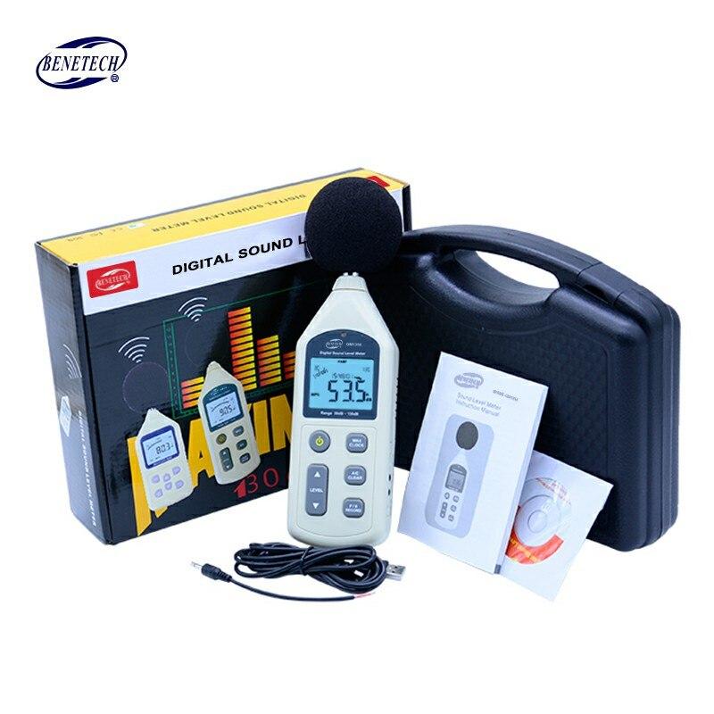 BENETECH GM1356 sonomètre numérique 30-130dB LCD A/C rapide/lent dB écran USB + logiciel avec boîte de transport