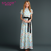 S FLAVOR Brand Women Maxi Dress Casual Dress 2017 Fashion Printing Elegant Long Vestdos With Button