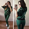 2016 Tracksuit Women Letter Hooded Tracksuit Long Pants Tops Womens Set Women Suits Casual Fashion Two Piece Set