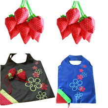 Fashion and cute New Simple Strawberry Fruit Green Folding Convenience Shopping Bag