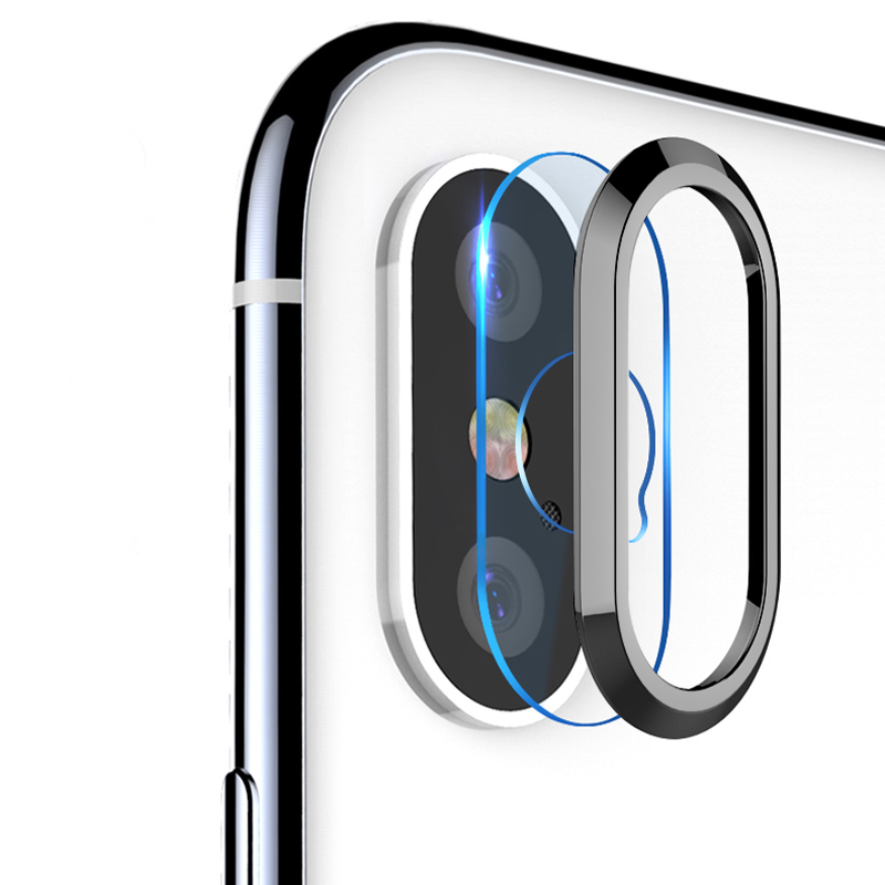 Transparent Tempered Glass + Metal Rear Lens Protective Ring For IPhone X 10 8 7 Plus Clear Full Back Lens Protection Glass Film