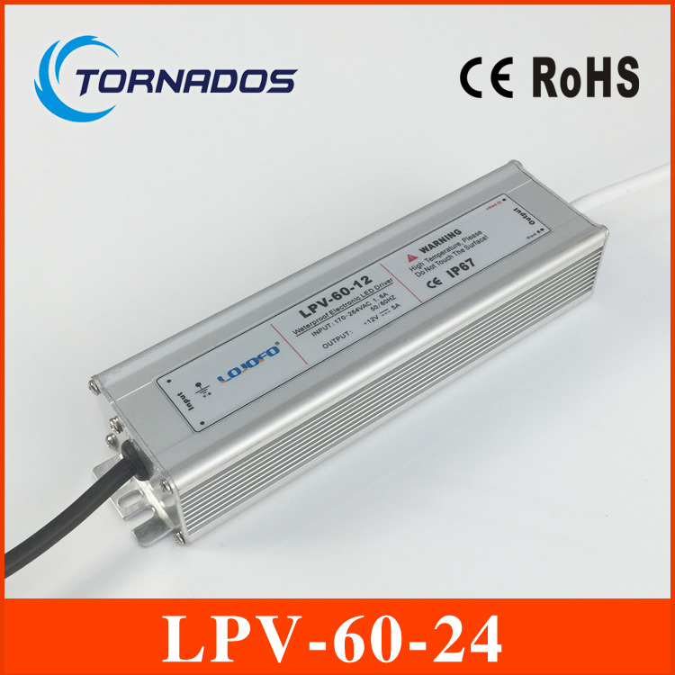 LPV-60-24 waterproof power supply 100~250VAC TO 24V DC 60w power suply 24v 60w LED Strip light ac to dc power supply s 150 24 ac dc 220 24v dc power suply led smps ce rohs approval led driver strip light switch power supply 24v 6 25a 150w