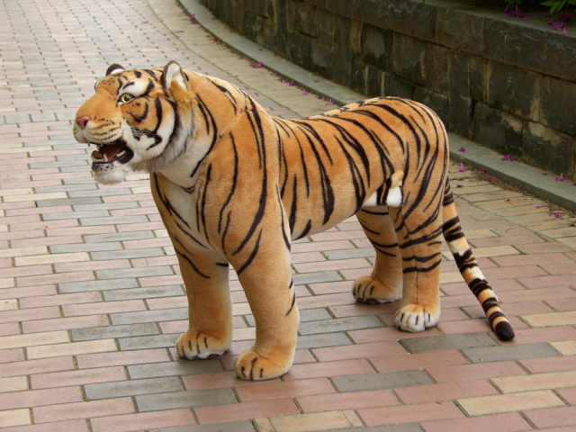 Modelzoo animal yellow tiger toy huge plush tiger doll strong tiger doll about 112x72cm stuffed animal 110cm plush tiger toy about 43 inch simulation tiger doll great gift free shipping w018